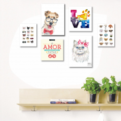 CONJUNTO KIT 6 QUADROS PET LOVERS