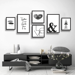 CONJUNTO KIT 6 QUADROS DECORATIVOS  LOVE BLACK