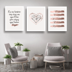 CONJUNTO KIT 3 QUADROS DECORATIVOS PRISMA